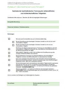 """Formblatt """"Nichtwirtschaftliche Tätigkeit"""""""